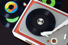 Vintage Record Player. Old record player playing a vinyl royalty free stock photo
