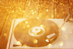 Vintage record player and glitter lights Stock Photo