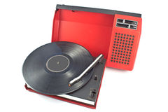 Vintage record player - portable turntable Royalty Free Stock Image
