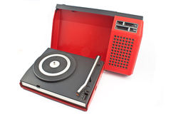 Vintage record player - portable turntable Royalty Free Stock Photos