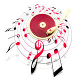 Vintage record player surrounded by musical notes Royalty Free Stock Image