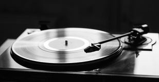 Vintage record player with vinyl disc, close-up Stock Photos