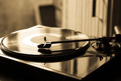 Vintage record player with vinyl disc, close-up Royalty Free Stock Photos