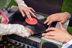 Vintage record player with vinyl record Royalty Free Stock Image