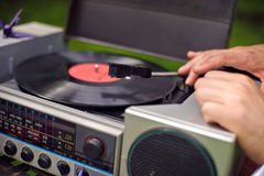 Vintage record player with vinyl record stock images