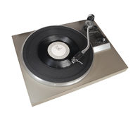 Vintage record player with vinyl record. Isolated on white Royalty Free Stock Image