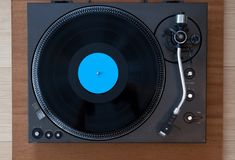 Vintage Record Turntable Player with Black Vinyl Disk. Top View Royalty Free Stock Photo