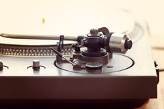 Vintage Record Turntable Player Tonearm Mechanism. Closeup Side View Royalty Free Stock Photography