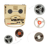 Vintage recorder and magnetic tape Royalty Free Stock Image