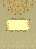 Vintage rectangular frame with brown decor. And floral designs on a green-beige background with ornate light pattern Royalty Free Stock Photo