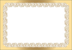 Vintage rectangular frame white gold Royalty Free Stock Images