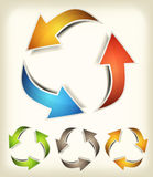 Vintage Recycle Arrows. Illustration of a collection of abstract glossy dynamic recycle arrows loops, for connection, refresh, endless or environmental Stock Photo
