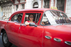 Vintage Red American Car Taxi Havana Cuba Stock Photography