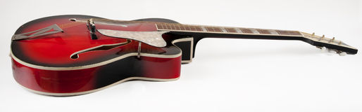 Vintage red archtop guitar Royalty Free Stock Photo