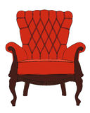 Vintage red armchair Stock Images