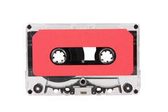 Vintage Red Audio Cassette with Clipping Path Royalty Free Stock Photography