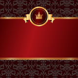 Vintage red background with frame of golden elemen. Ts and crown on black pattern without text Royalty Free Stock Photo