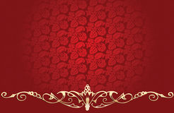 Vintage Red Background With Gold Curves Stock Image
