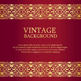 Vintage red background with gold lace as top  Royalty Free Stock Image