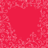 Vintage red background with hearts. Vector Illustration Stock Photo