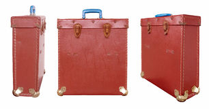 Vintage red bag 3 views Royalty Free Stock Photos