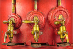 Vintage red barrel with three taps Royalty Free Stock Photography