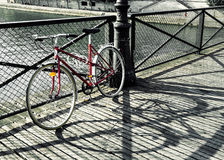 Vintage red bicycle in Paris Royalty Free Stock Photo