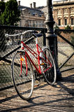 Vintage red bicycle in Paris Royalty Free Stock Image