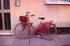 Vintage red bicycle Stock Photos