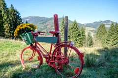 Retro red bike with flowers and a sign in front of a mountain landscape Stock Photo