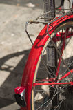 Vintage red bike. In a street of Rome Italy Stock Photos