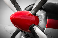 Vintage Red and Black Engine. An engine close up from a vintage propeller aircraft Royalty Free Stock Photography