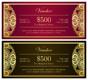 Vintage red and black voucher with golden lace dec Stock Photos