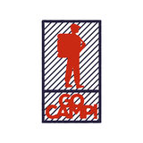 Vintage red-blue emblem of a tourist or traveler with a backpack. And the inscription go camp . Isolated monochrome emblem for a camping, the logo is suitable Royalty Free Stock Photo