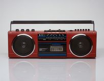 Vintage red boom box on white background Royalty Free Stock Image