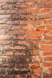 Pattern of line brick wall in ancient ruin. Royalty Free Stock Photo