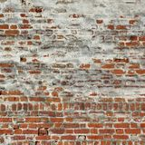 Vintage Red Brick Wall With White  Plaster Frame Background Stock Image