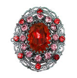 Vintage red brooch Royalty Free Stock Photos