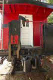 Vintage red caboose parked on rails, North Conway, New Hampshire Royalty Free Stock Image