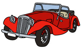 Vintage red cabriolet. Hand drawn illustration Stock Illustration