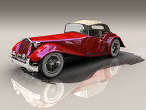 Vintage red car 3D model. Vintage red car - Shiny old Hot Rod 3D model on reflective surface with clipping work path included royalty free stock photo