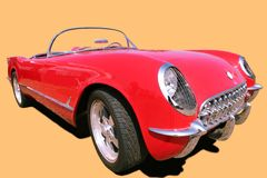 Vintage Red Car 70's royalty free stock photos