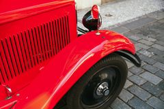 Vintage red car fragment, motor grille Royalty Free Stock Photography