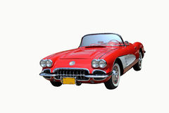Vintage red car. A vintage car Isolated on a white background, restored for a car show stock image