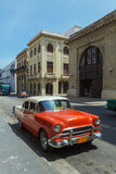 Vintage red car on the street of old city, Havana, Cuba Royalty Free Stock Photography