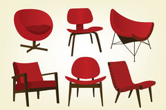 Vintage Red Chair Icons. Stylish red vintage/retro chairs; easy-edit layered file makes changing the chair color simple Stock Photo