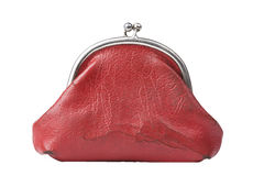 Vintage red change purse isolated royalty free stock image