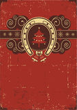 Vintage red Christmas background. With horseshoe and tree on old texture stock illustration