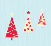 Vintage red christmas trees pattern Stock Images