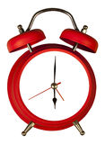 Vintage red clock alarm cropped on white. No number, frame space Royalty Free Stock Images
